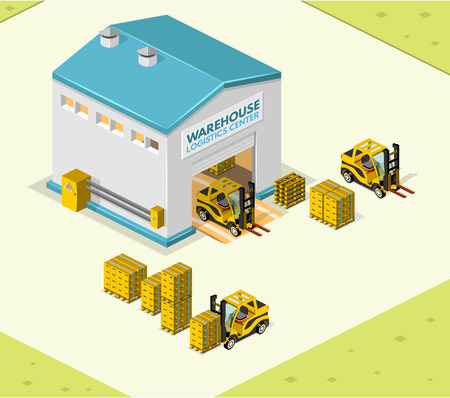 front loading: Illustration isometric style, Warehouse work , for your design