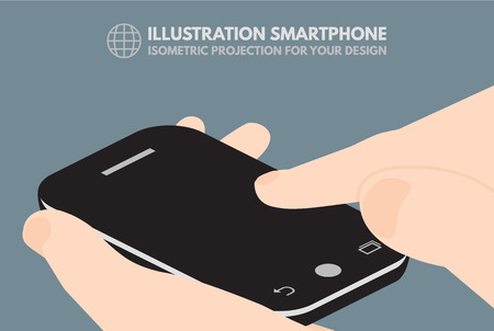 infographics touchscreen: Touchscreen phone, computer, gadget.It can be used to illustrate the infographics Illustration