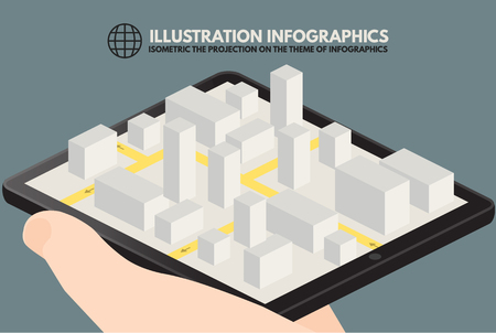 computerized: Isometric smartphone, computer, phone, tablet for design infographics