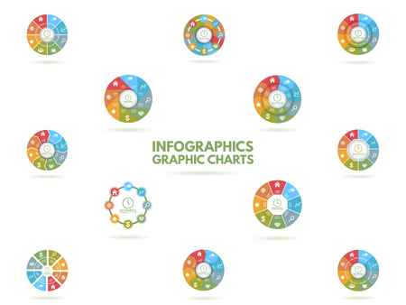 12 step: Infographics with illustrations of business objects for your design Illustration
