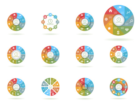 circle design: Infographics with illustrations of business objects for your design Illustration