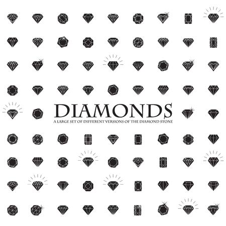 coeur diamant: Diamonds Icons Set, élément de design, symbole de la réussite de la richesse et la gloire