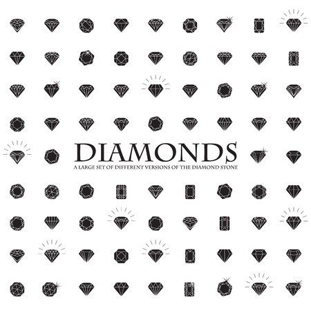 diamond stones: Diamonds Icons set, design element, symbol of the success of wealth and fame