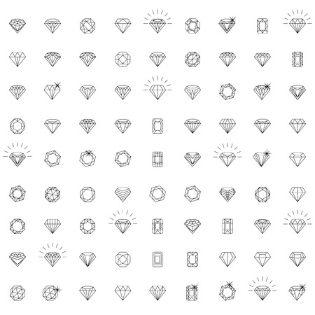 fame: Diamonds Icons set, design element, symbol of the success of wealth and fame