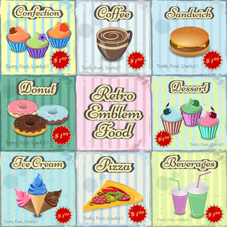 snack bar: posters, labels , stickers for cafes, snack bar, bar