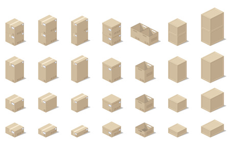set form: Illustration depicting a set of boxes, cartons, boxes in the 3D projection on a white background in a realistic form.