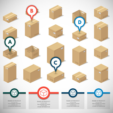 cartons: Illustration depicting a set of boxes, cartons, boxes in the 3D projection on a white background in a realistic form.