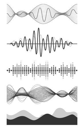 Vector geluidsgolven te stellen. Audio Player. Audio equalizer technologie, pulse musical. Vector illustratie.