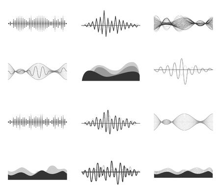 sonido: ondas de sonido conjunto de vectores. Reproductor de audio. La tecnología ecualizador de audio, música de pulso. Ilustración del vector.