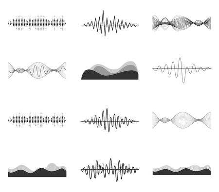 waves vector: Vector sound waves set. Audio Player. Audio equalizer technology, pulse musical. Vector illustration.