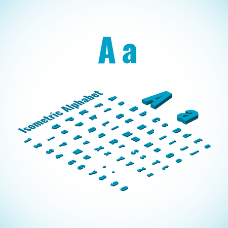 threedimensional: Isometric alphabet vector font. Isometric small and capital letters, numbers and symbols. Three-Dimensional stock vector typography for headlines, posters etc.