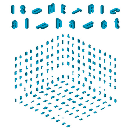 Isometric Alphabet Vector Font Isometric Small And Capital Letters