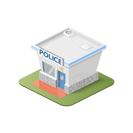 estate car: Vector graphics, illustration 3d police station, isometric style.