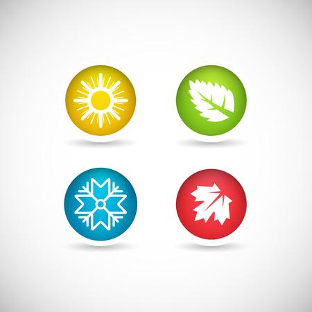 estaciones del a�o: Iconos en el fondo con la imagen de cuatro a�os. Ilustraci�n sobre el tema del cambio clim�tico.