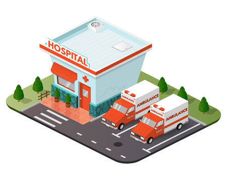 precinct station: Vector art city, 3d style isometric view, ambulance, hospital, clinic.