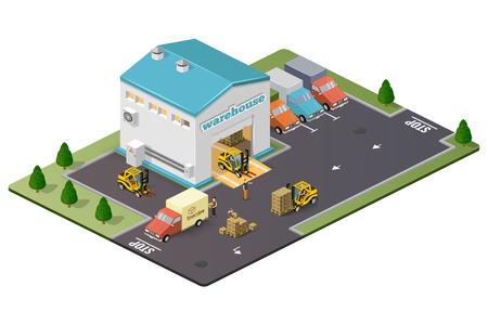 transportation cartoon: Illustration isometric style, Warehouse work , for your design