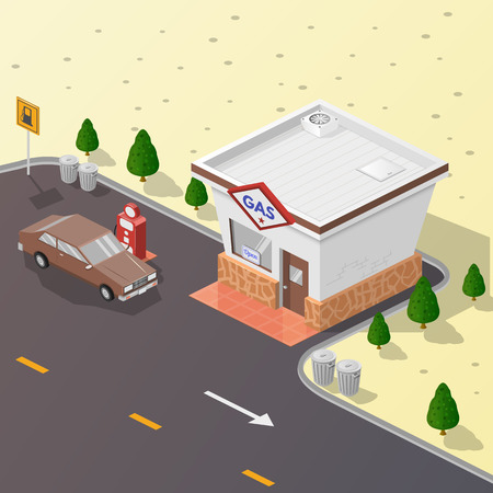 estate car: Isometric illustration, vector graphics with the image of a gas station, advertising, design, symbol. Illustration