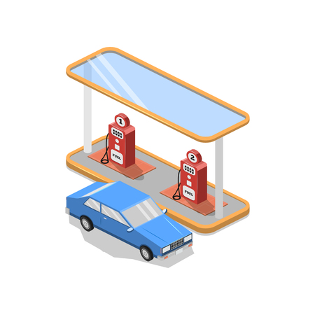 precinct station: Isometric illustration, vector graphics with the image of a gas station, advertising, design, symbol. Illustration