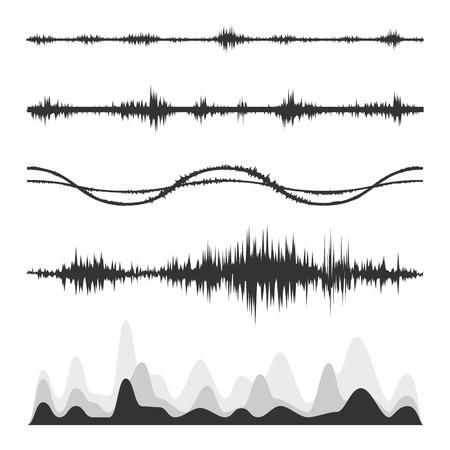 De equalizer, equalizer set, icon set, vector set van de golven, vector iconen set golven, muzikaal golf, geluidsgolven, audio wave icon set, Audio equalizer technologie, pulse musical, pols muzikale set.