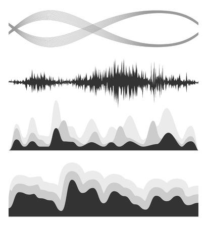 The equalizer, equalizer set,  icon set, vector set of waves, vector icons set waves, musical wave, sound waves, audio wave icon set, Audio equalizer technology, pulse musical , pulse musical set. Illustration