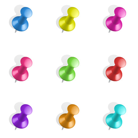 Set of push pins in different colors. Thumbtacks.  Vector illustration. Isolated on white background. Set icon. Pin set. Thumbtack vector set. Driving design. Isolated image. Çizim