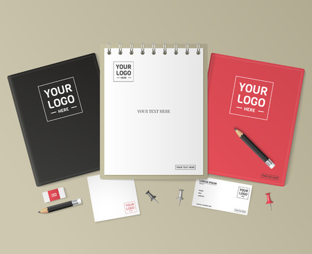 letterhead: Corporate identity template set. Business stationery mock-up with logo. Branding design. Notebook, card, catalog, pen, pencil, badge,  tablet pc, mobile phone, letterhead.