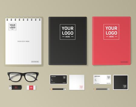 Conjunto de plantillas de identidad corporativa. Papel del asunto maqueta con el logotipo. Branding diseño. Bloc de notas, tarjetas, catálogos, pluma, lápiz, insignia, Tablet PC, teléfono móvil, con membrete. Logos