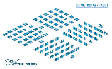 headlines: Isometric alphabet vector font. Isometric small and capital letters, numbers and symbols. Three-Dimensional stock vector typography for headlines, posters etc.