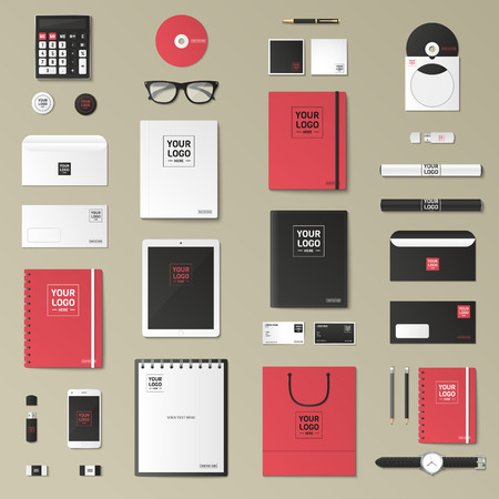 Corporate identity template set. Business stationery mock-up with logo. Branding design. Notebook, card, catalog, pen, pencil, badge, tablet pc, mobile phone, letterhead. Logo