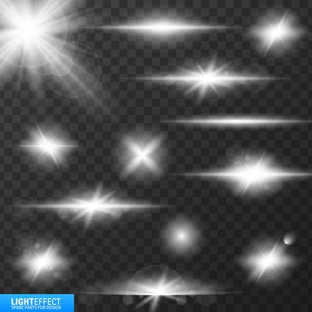effets de lumière, effet d'éclairage réaliste, effet de rayonnement de lumière, lueur luminescence pour la conception, illustration d'un ensemble de lumière et éclat effet, étoiles rougeoyantes, lumières et Sparkles effet,