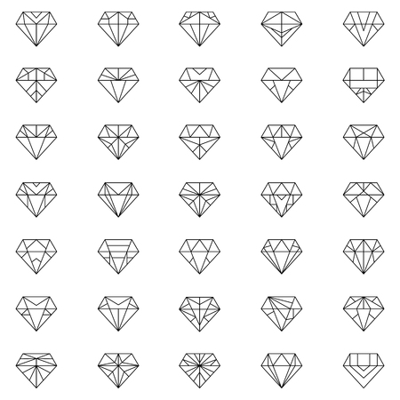 fame: Diamonds Icons set, design element, symbol of the success of wealth and fame.