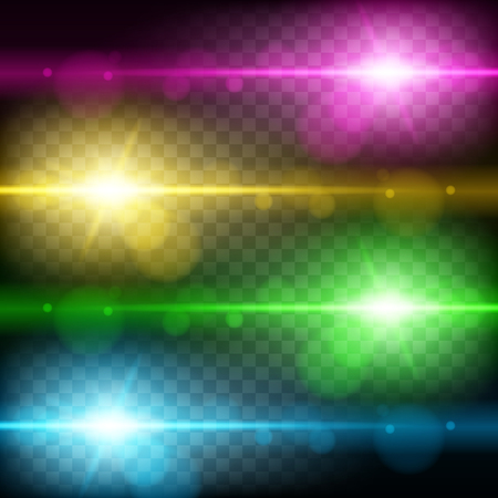 Set of Abstract Lens Flares.Design spare. Glowing stars . Lights and Sparkles on Transparent Background. Transparent Light Effects for Your Design. Vector Illustration. Ilustracja