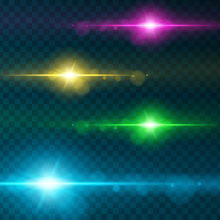 spare: Set of Abstract Lens Flares.Design spare. Glowing stars . Lights and Sparkles on Transparent Background. Transparent Light Effects for Your Design. Vector Illustration. Illustration