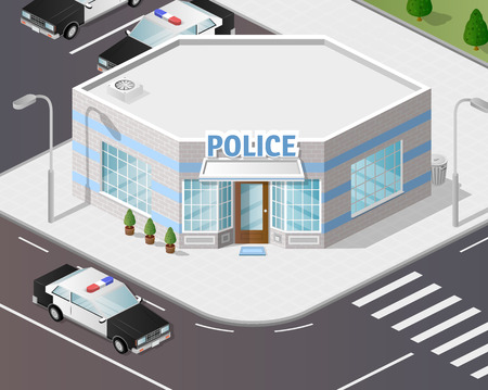 precinct station: Vector graphics, illustration 3d police station, isometric style.