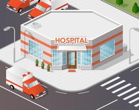 precinct station: Vector art city, 3d style isometric view, ambulance, hospital, clinic.