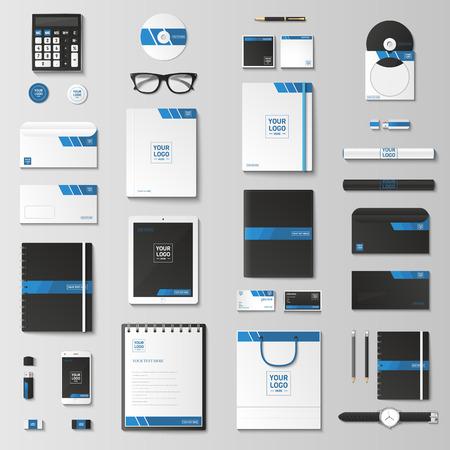 set Modello di identità corporativa. Cancelleria di affari mock-up con. Branding design. Notebook, carta, catalogo, penna, matita, distintivo, tablet pc, cellulare, carta intestata.