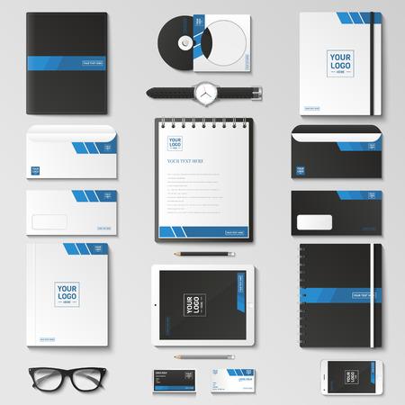 Conjunto de plantillas de identidad corporativa. Papel del asunto maqueta con el logotipo. Branding diseño. Bloc de notas, tarjetas, catálogos, pluma, lápiz, insignia, Tablet PC, teléfono móvil, con membrete.