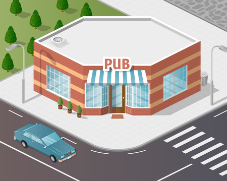 precinct station: Vector art city, 3d style isometric view, shop
