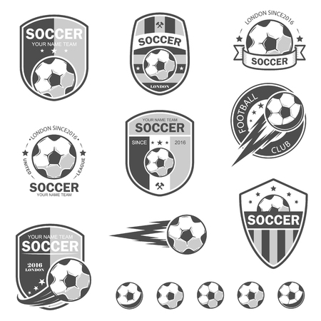 collegiate: illustration set of icon on football theme, as well as items for the game of football. It can be used as an emblem,  template for soccer tournaments.