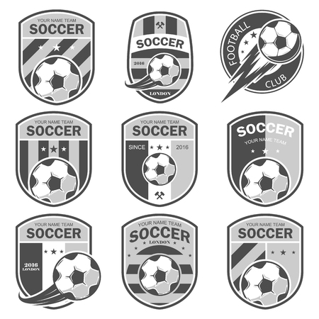 collegiate: illustration set of icon on football theme, as well as items for the game of football. It can be used as an emblem, and template for soccer tournaments.