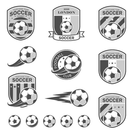 collegiate: illustration set of icon on football theme, as well as items for the game of football. It can be used as an emblem and template for soccer tournaments.