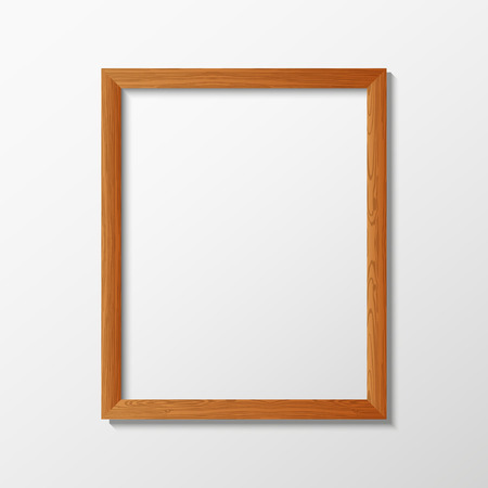 Vector illustration with the image and the object of the wooden frame, the empty frame for the illustrations inside. Frame for design. Frame in the style of photorealism. 矢量图像