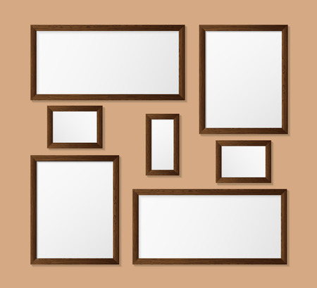 photorealism: Vector illustration with the image and the object of the wooden frame, the empty frame for the illustrations inside. Frame for design. Frame in the style of photorealism. Illustration
