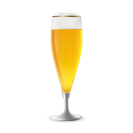 photorealism: Vector illustration of a glass of beer. Realistic illustration of a beer glass. Vector beer in photorealism style. A glass of beer as a design element.
