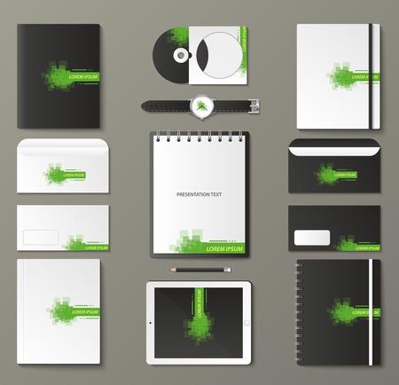 notebook design: Corporate identity template set. Business stationery mock-up with logo. Branding design. Notebook, card, catalog, pen, pencil, badge, tablet pc mobile phone letterhead Illustration