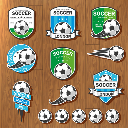 Vector illustration set of logos on football theme, as well as items for the game of football. It can be used as an emblem, logo and template for soccer tournaments. Logo