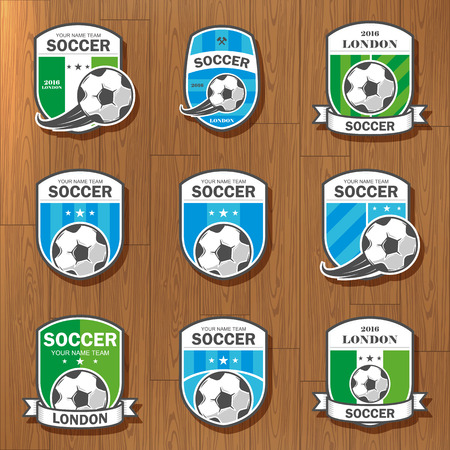 collegiate: Vector illustration set of logos on football theme, as well as items for the game of football. It can be used as an emblem, logo and template for soccer tournaments.