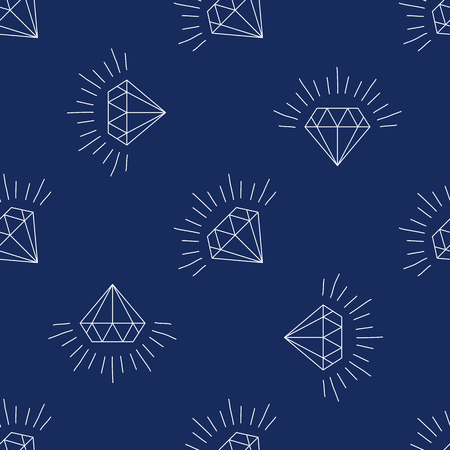 Diamonds Icons set, design element, symbol of the success of wealth and fame, seamless pattern of diamonds that can be propagated to an unlimited number of times.