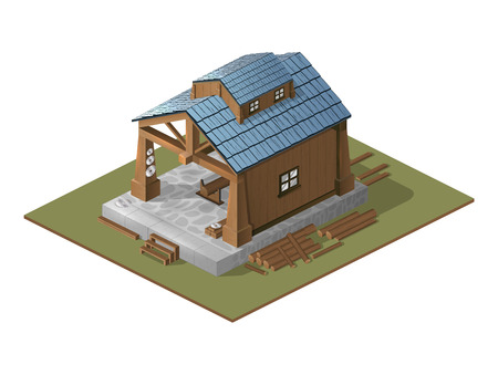 carried: Illustration with the image of a workshop on wood.Work carried out in an isometric view.Wooden building as a workshop.