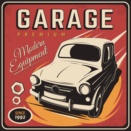 illustration with the image of an old classic car